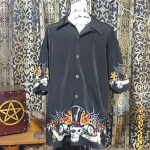 Skull & 8 Ball Lucky/Unlucky Button Collar Shirt